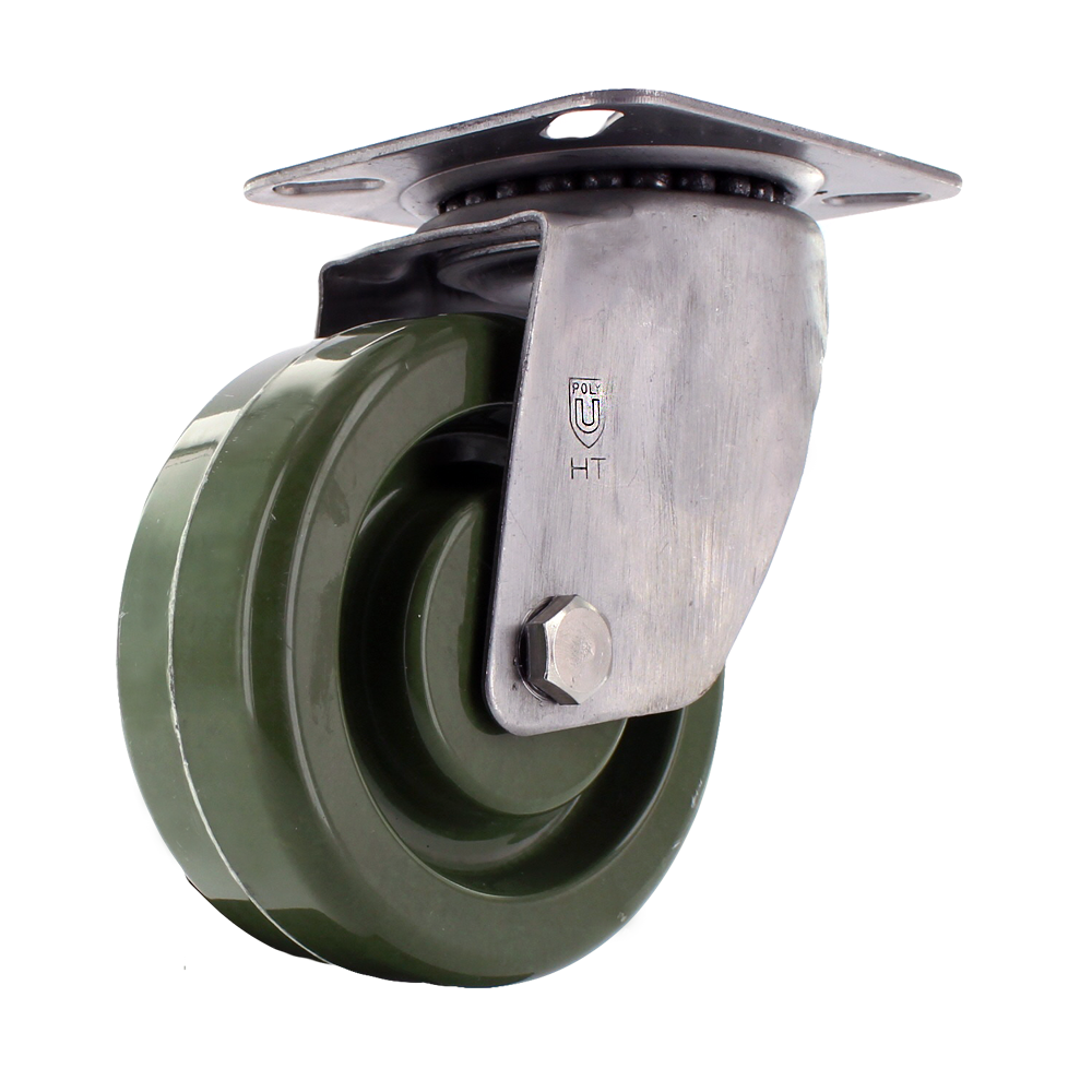 Hi Temp Green Wheel with Standard Stainless Steel Caster